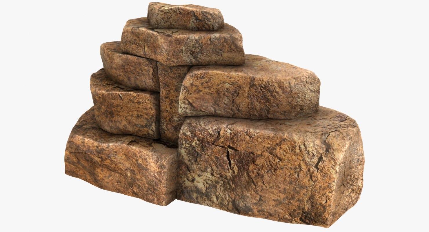 realistic blocky rock color 3D model