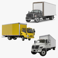 Rigged Box Trucks 3D Models Collection