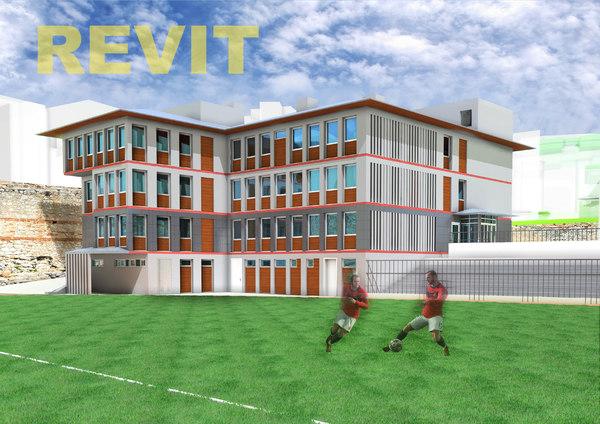football administrative building facade 3D model