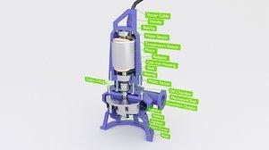 pump sewage submersible 3D model