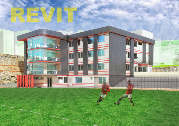 football administrative building facade 3D model