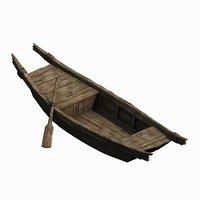small wooden boat 043 3D model