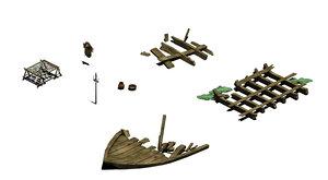 3D model fishing village - broken