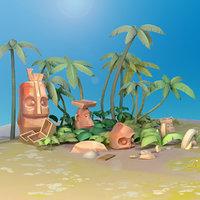 island land cartoon 3D model