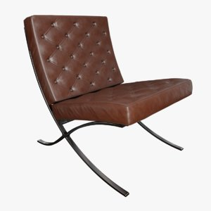 barcelona chair leather 3D