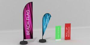 beach flag banner 3D model