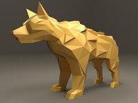 polygonal direwolf animation model