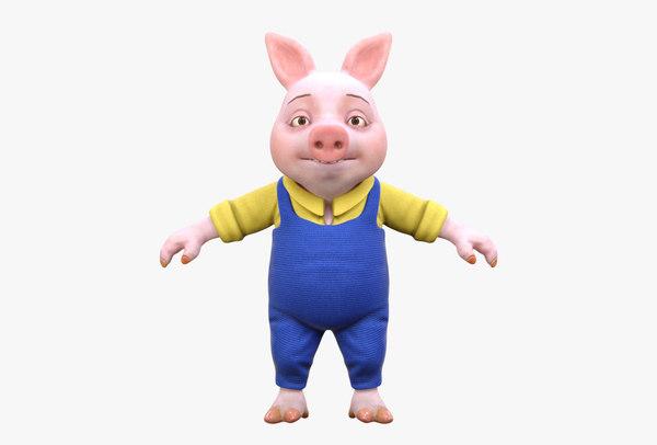 3D pig blue jumpsuit
