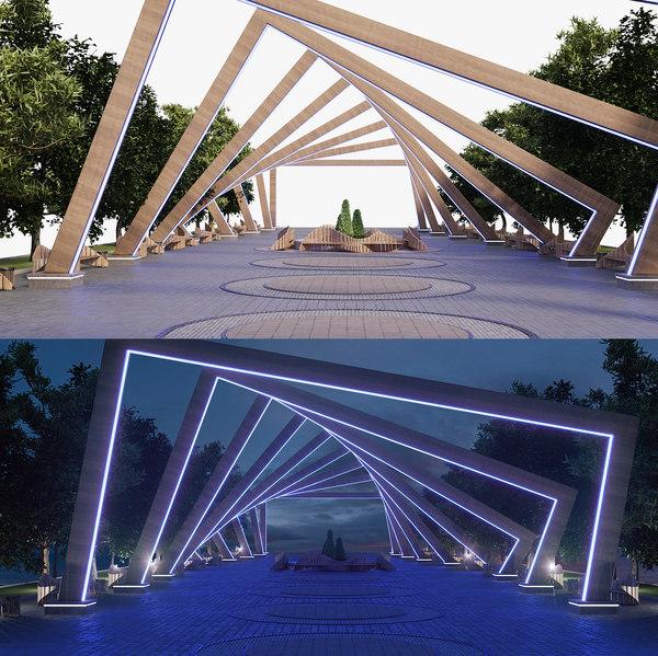 3D park arch model