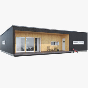 3D realistic house siding black model