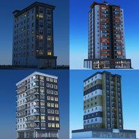 3D model night modern building 1