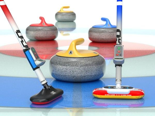3D curling set broom model
