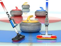 3D curling set broom model