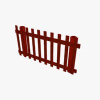 3D cartoon farm fence model