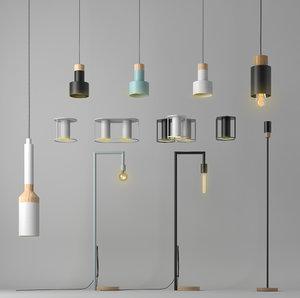 set 12 lamps fild 3D model