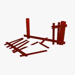 3D model cartoon farm fence 05