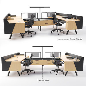 workstation canvas vista chairs 3D model