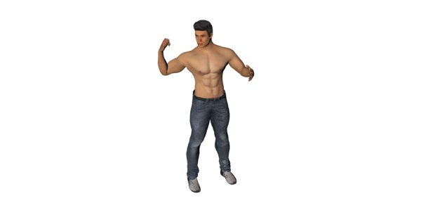 3D realistic rigged male character model