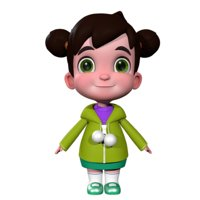 girl cartoon 3D model