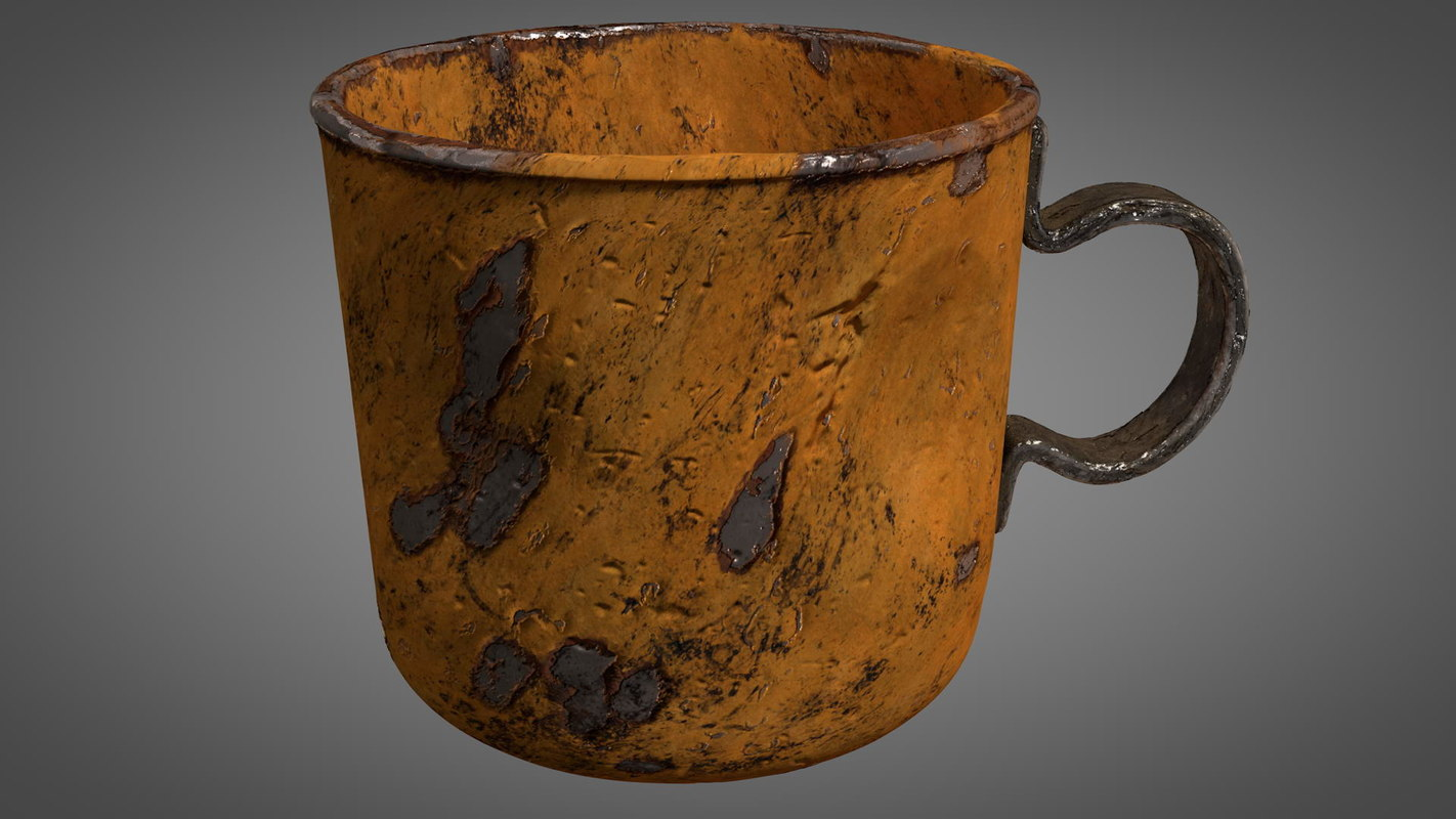 3D old worn tin cup
