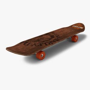3D skateboard skate wood