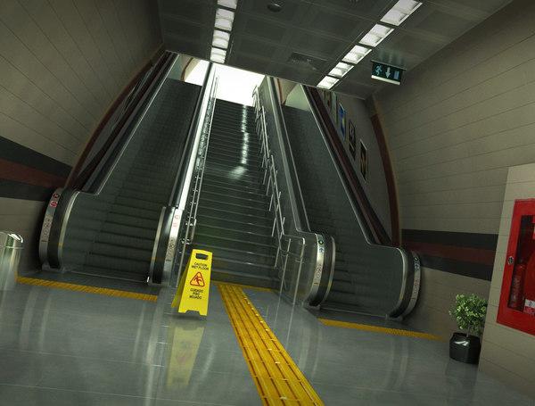 subway station escalator 3D model