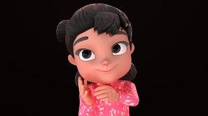 3D girl - rig cartoons