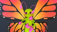 3D model butterfly - hight rig