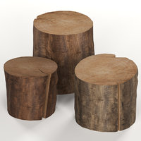 Three dark coffee table stumps