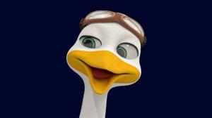 stork - rig animal cartoons 3D