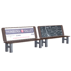 3D realistic street bench