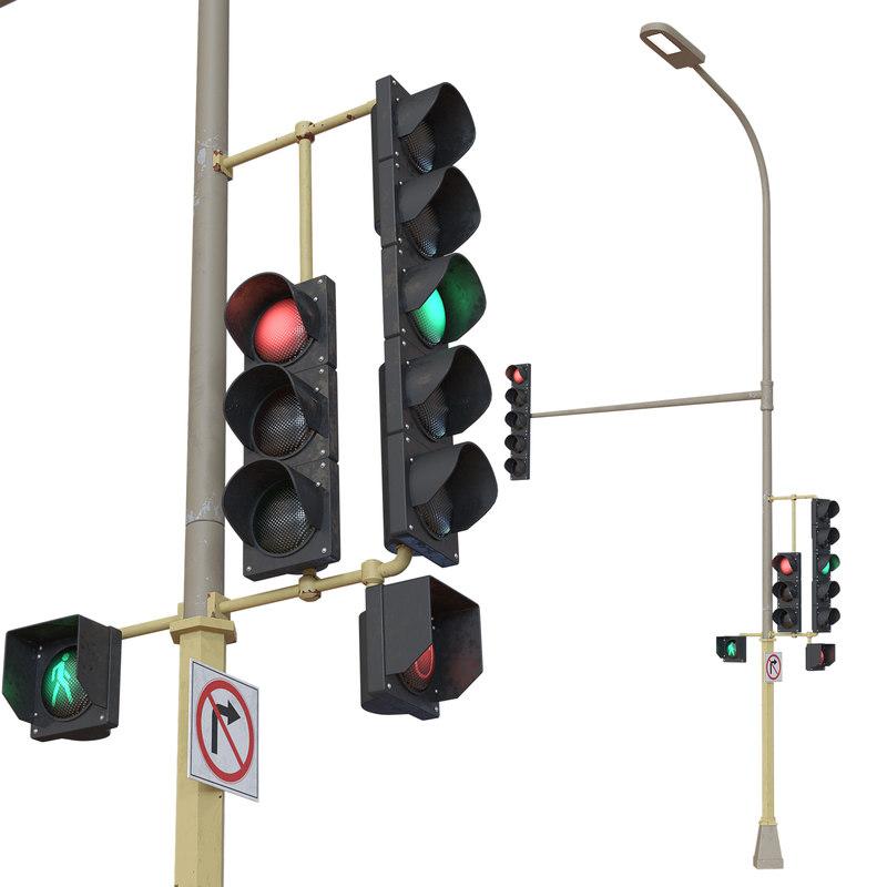 3D realistic traffic lights model