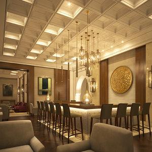 3D scene lounge bar model