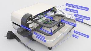 3D maker sandwich waffle