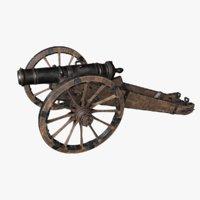 3D old cannon gun