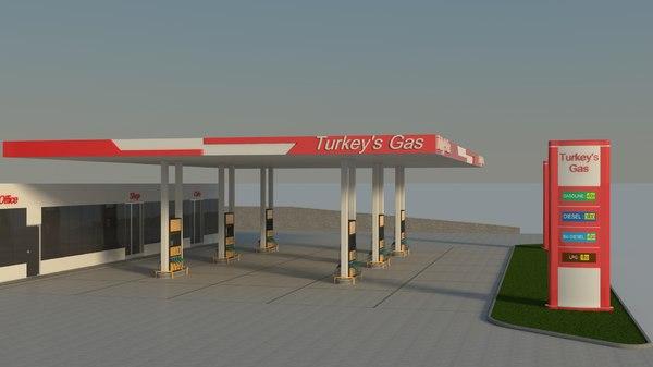 3D gas station fuel
