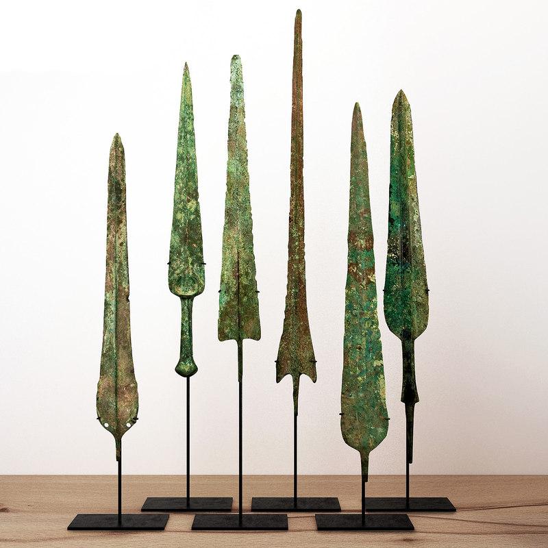 3D lorestani archaic bronze spearheads