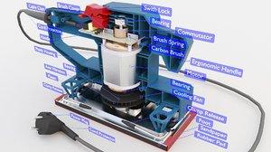 3D model sheet orbital sander
