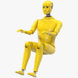3D crash test dummy rigged model