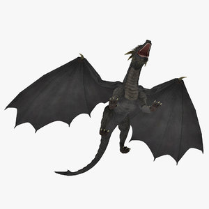 3D mythical dragon rigged model