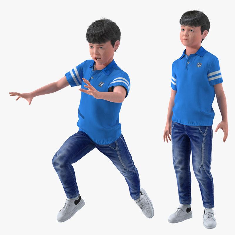 realistic teenage boy rigged 3D model