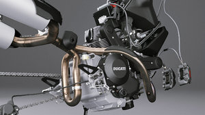 3D motorcycle engine brakes model