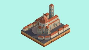 cartoon florence cathedral 3D