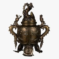3D dragon incense burner model