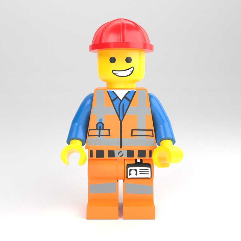 lego minifigure construction worker 3D model