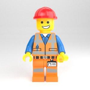 lego minifigure construction worker 3D model
