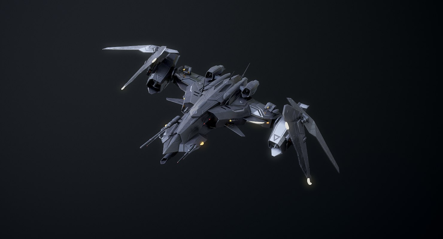 3D model rigged sci-fi spaceship fighter