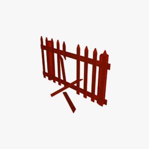cartoon farm fence 3D model