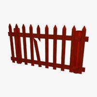 3D cartoon farm fence model