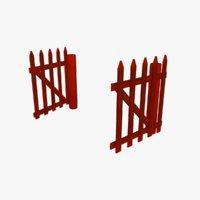 3D cartoon farm fence